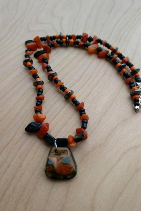 Handcrafted gemstone and glass beaded necklace with pendant