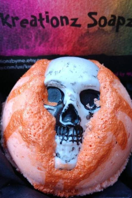 Orange marjoram bath bombs with or without skull toy