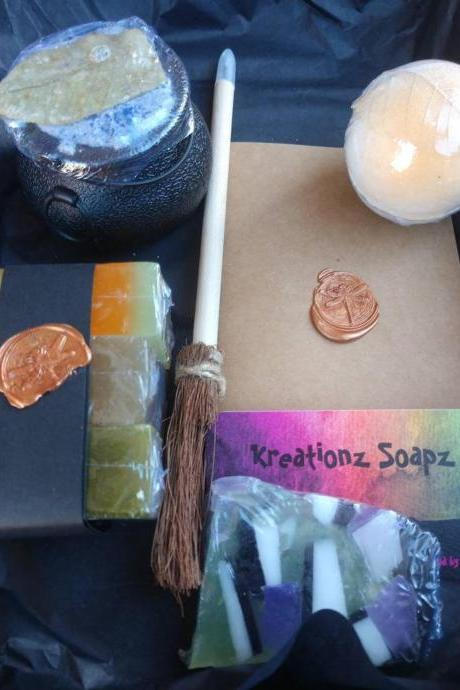 WOODLAND WITCHES BREW gift set with all natural herb infused soaps cauldron bath bomb with gemstone and seashells book and broom pen