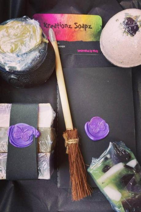 GYPSY WITCHES BREW gift set with all natural herb infused soaps cauldron bath bomb with gemstone and seashells book and broom pen